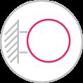 Faltól eltartott kör alakú reklámtábla kovácsoltvas cégér