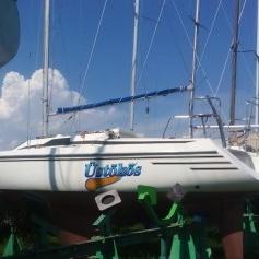 Hajó matricázás, vitorláshajó dekor (lajstromszám, hajó logó)